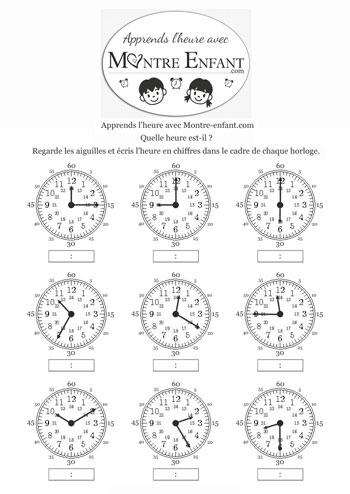 exercice 2 pour apprendre à lire l`heure