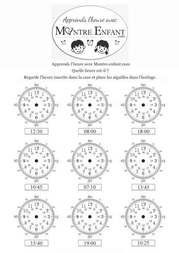 exercice 3 pour apprendre à lire l`heure