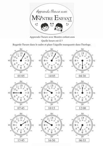 exercice 4 pour apprendre à lire l`heure