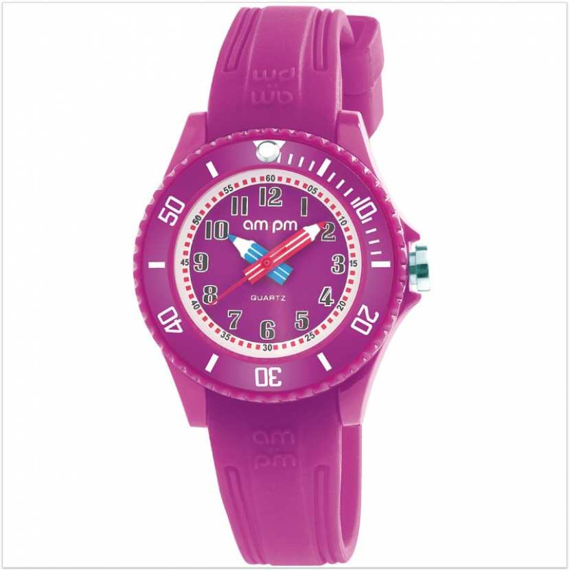fbb68b97ecb9f Montre fille pédagogique violette avec bracelet en silicone.