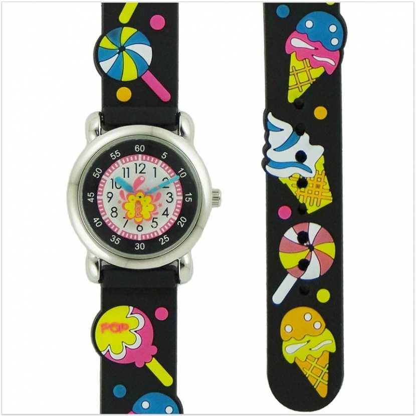 ec3b6a46ef97c Montre pédagogique pour enfant fille ou garçon avec bracelet en silicone  noir.