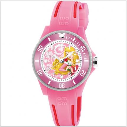 Montre fille avec bracelet en silicone rose Princesses de Disney.