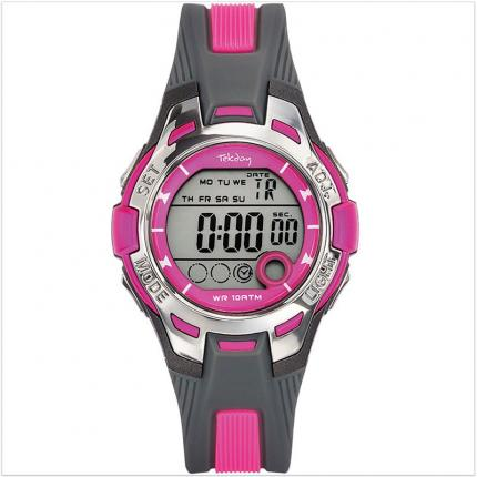 Montre fille digitale Tekday grise et rose en plastique.