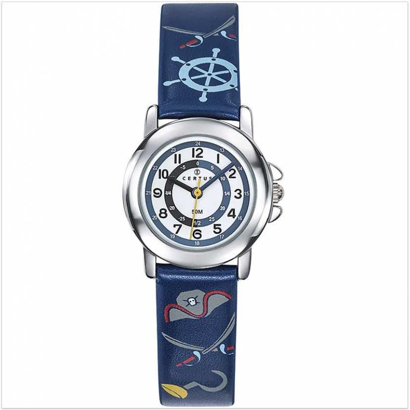 de15bd3edddbe Montre garçon pédagogique bleue avec bracelet sur le thème des pirates