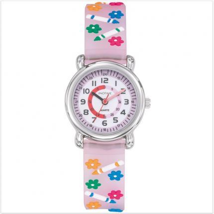 1def2964c25ad Jolie montre rose pour petite fille avec cadran pédagogique et bracelet en  silicone décoré de petites